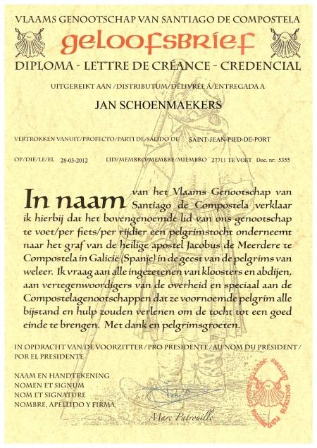 Geloofsbrief van Vlaamse pelgrim.