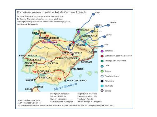 De belangrijkste Romeinse wegen (in rood) en Camino's (in blauw)